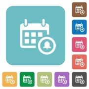 Flat calendar alarm icons on rounded square color backgrounds. - Flat calendar alarm icons
