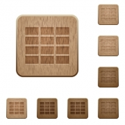 Set of carved wooden spreadsheet buttons in 8 variations. - Spreadsheet wooden buttons
