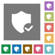 Protection ok flat icon set on color square background. - Protection ok square flat icons