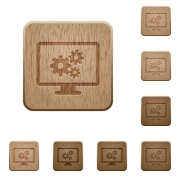 Set of carved wooden screen settings buttons in 8 variations. - Screen settings wooden buttons