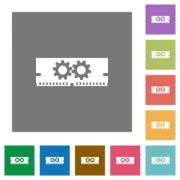 Memory optimization flat icon set on color square background. - Memory optimization square flat icons