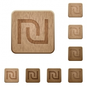 Set of carved wooden Israeli new Shekel sign buttons in 8 variations. - Israeli new Shekel sign wooden buttons