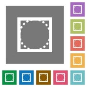 Rounded corners flat icon set on color square background. - Rounded corners square flat icons