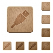 Set of carved wooden USB plug buttons in 8 variations. - USB plug wooden buttons