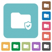 Flat protected folder icons on rounded square color backgrounds. - Flat protected folder icons