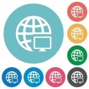 Flat remote terminal icon set on round color background. - Flat remote terminal icons