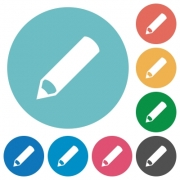 Flat pencil icon set on round color background. - Flat pencil icons