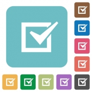 Flat checked box icons on rounded square color backgrounds. - Flat checked box icons