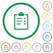 Set of task list color round outlined flat icons on white background - Task list outlined flat icons