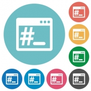 Flat operating system root terminal icon set on round color background. - Flat OS root terminal icons