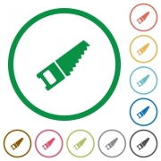 Set of hand saw color round outlined flat icons on white background - Hand saw outlined flat icons