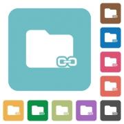 Flat linked folder icons on rounded square color backgrounds. - Flat linked folder icons