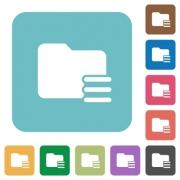 Flat folder options icons on rounded square color backgrounds. - Flat folder options icons
