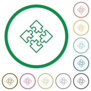 Set of puzzles color round outlined flat icons on white background - Puzzles outlined flat icons