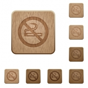 Set of carved wooden no smoking sign buttons in 8 variations. - No smoking sign wooden buttons