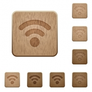Set of carved wooden radio signal buttons in 8 variations. - Radio signal wooden buttons