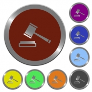 Set of color glossy coin-like auction hammer buttons - Color auction hammer buttons