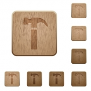 Set of carved wooden hammer buttons in 8 variations. - Hammer wooden buttons