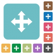 Flat move arrows icons on rounded square color backgrounds. - Flat move arrows icons