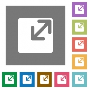 Resize window flat icon set on color square background. - Resize window square flat icons