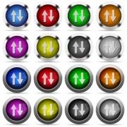 Set of data traffic glossy web buttons. Arranged layer structure. - Data traffic glossy button set