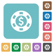 Flat Dollar casino chip icons on rounded square color backgrounds. - Flat Dollar casino chip icons
