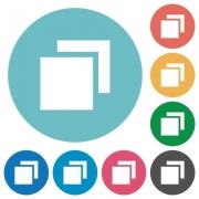 Flat overlapping elements icon set on round color background. - Flat overlapping elements icons