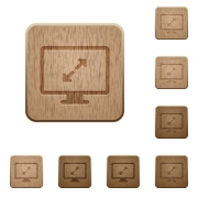 Set of carved wooden screen resolution buttons in 8 variations. - Screen resolution wooden buttons