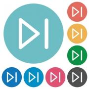 Flat media next icon set on round color background. - Flat media next icons