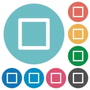 Flat media stop icon set on round color background. - Flat media stop icons