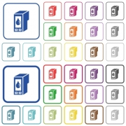 Set of ink cartridge flat rounded square framed color icons on white background. Thin and thick versions included. - Ink cartridge color outlined flat icons