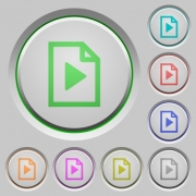 Set of color playlist sunk push buttons. - Playlist push buttons