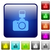 Set of camera with flash color glass rounded square buttons - Color camera with flash square buttons