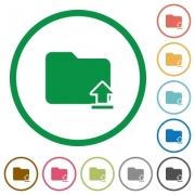 Set of upload folder color round outlined flat icons on white background - Upload folder outlined flat icons
