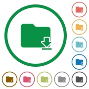 Set of download folder color round outlined flat icons on white background - Download folder outlined flat icons