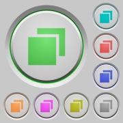 Set of color overlapping elements sunk push buttons. - Overlapping elements push buttons
