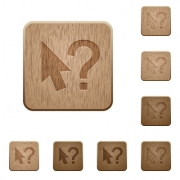 Set of carved wooden help cursor buttons in 8 variations. - Help cursor wooden buttons