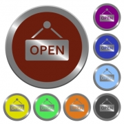 Set of color glossy coin-like open sign buttons
