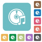 Flat audio CD icons on rounded square color backgrounds. - Flat audio CD icons