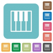 Flat piano keyboard icons on rounded square color backgrounds. - Flat piano keyboard icons