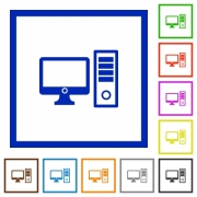 Set of color square framed desktop computer flat icons - Desktop computer framed flat icons