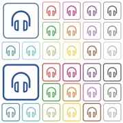 Set of headset flat rounded square framed color icons on white background. Thin and thick versions included. - Headset color outlined flat icons
