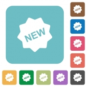 Flat new badge icons on rounded square color backgrounds. - Flat new badge icons