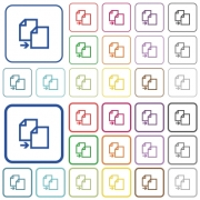 Set of copy item flat rounded square framed color icons on white background. Thin and thick versions included. - Copy item color outlined flat icons