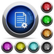 Set of round glossy document setup buttons. Arranged layer structure. - Document setup button set