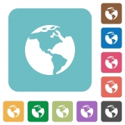 Flat Earth icons on rounded square color backgrounds. - Flat Earth icons