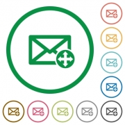 Set of move mail color round outlined flat icons on white background - Move mail outlined flat icons