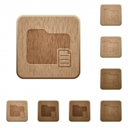 Set of carved wooden folder properties buttons in 8 variations. - Folder properties wooden buttons