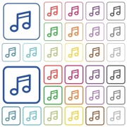 Set of music note flat rounded square framed color icons on white background. Thin and thick versions included. - Music note color outlined flat icons