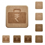 Set of carved wooden indian Rupee bag in 8 variations. - Indian Rupee bag wooden buttons